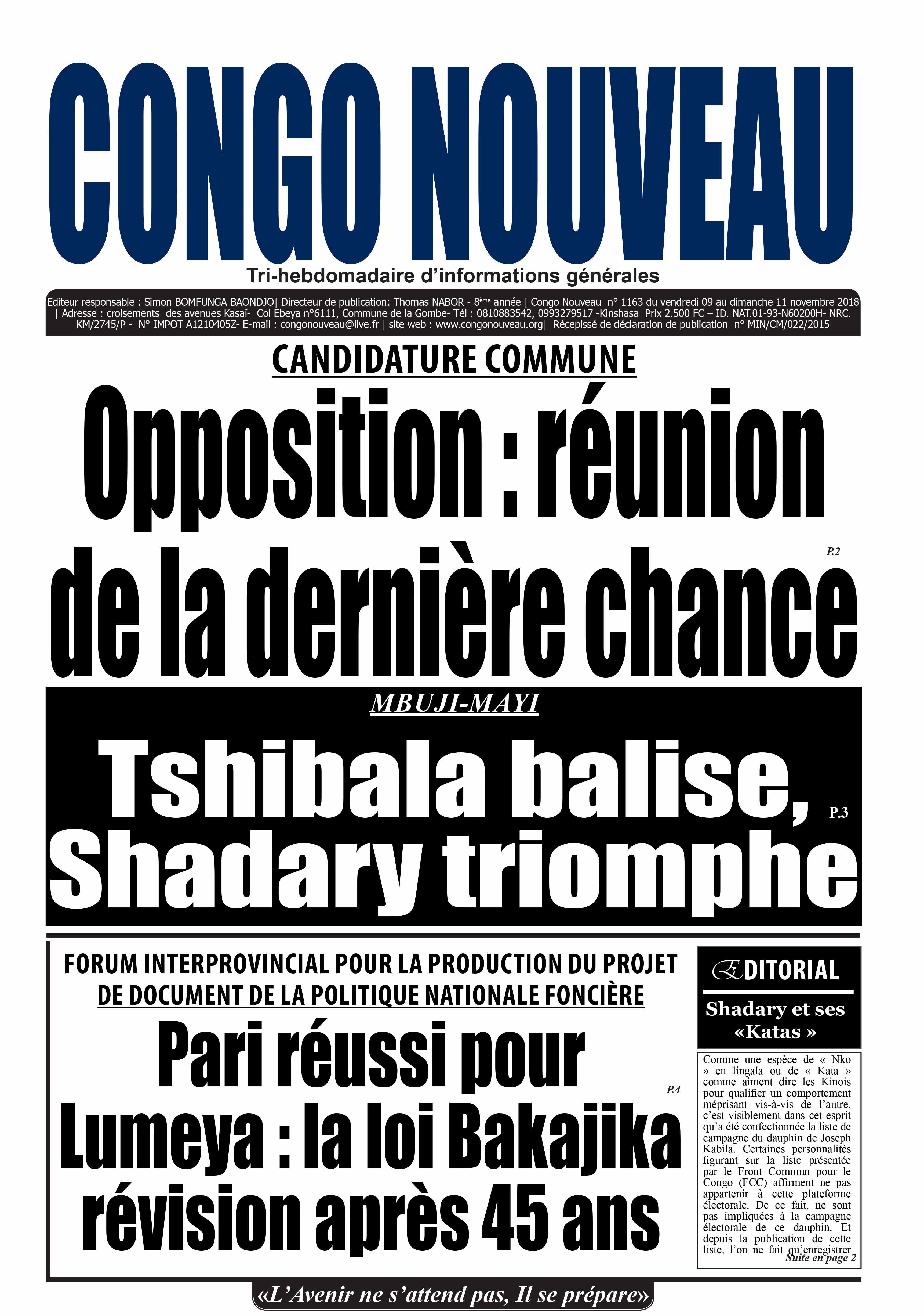CONGO NOUVEAU – 9-11 Novembre 2018