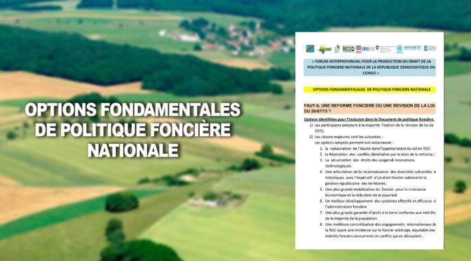 OPTIONS FONDAMENTALES  DE POLITIQUE FONCIÈRE NATIONALE