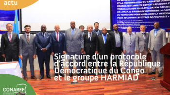 Permalien vers:SIGNATURE D'UN PROTOCOLE D'ACCORD ENTRE LA REPUBLIQUE DEMOCRATIQUE DU CONGO ET LE GROUPE HARMIAD